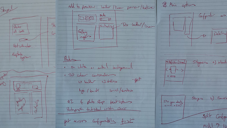 First sketches wireframing